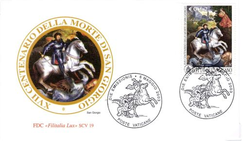scanned from my collection (for St George's Day) : VATICAN - St. George, 6-MAY-2003