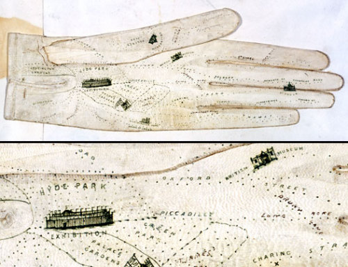 notnadia:  jaune:  sicklittlepuppy:  Glove map of London, 1851, by George Shove. Printed map on leather. Long before Googlemaps on an iPhone or handheld GPS devices, there was the very analog Victorian Glove Map. I am totally in awe of this.