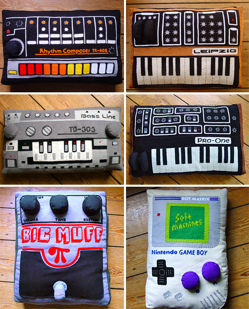 channers:  thedailywhat:  Buy This: Old-school electronic equipment pillows and laptop sleeves by softmachines (original German cuddle engineering!). All handmade. The pillows are stuffed with nontoxic synthetic fibres. The laptop sleeves are lined with  black soft mollton fabric. [ohgizmo!]