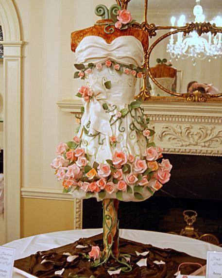 "I am totally blown off by this dress.  3D DRESS CAKE!  prettyfoods:  A 46"" cake designed in the shape of a dress,  submitted by: dirtyminx"