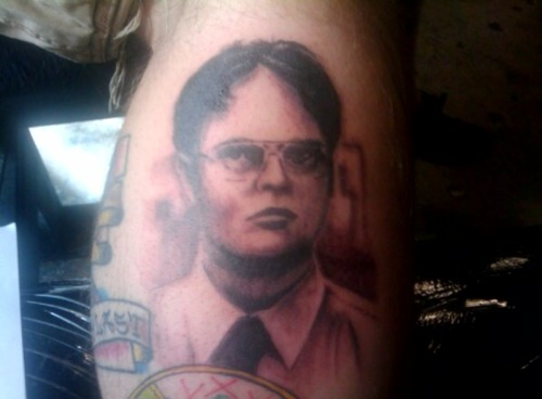 fuckyeahtattoos:  My boyfriend has Dwight tattooed on his leg. Everyone loves this one. Done by Nate Barnes at Euphoria in Tallahassee.