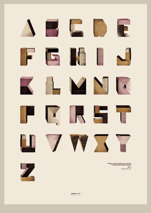 """Abcity typo is a formal typographic construction based in the superposition of cubes and buildings  as illustrative elements."" - Borja Bonaque (via The Strange Attractor)"