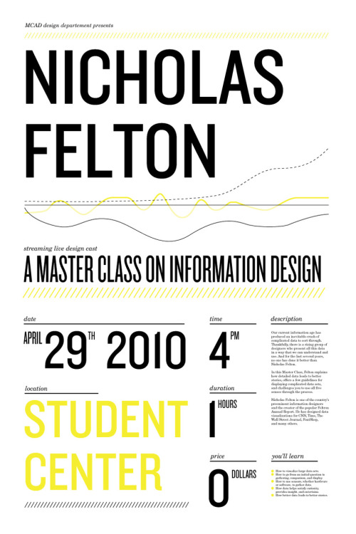 Poster for the Nicholas Felton design cast @ MCAD © Andrew Schatz 2010  [[ Facebook Event ]]