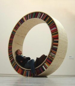 unhappyhipsters:  The bibliophile in him knew it was ingenious. The 6-month-dry-spell in him remained unconvinced. (Photo: David Garcia; MakeZine)