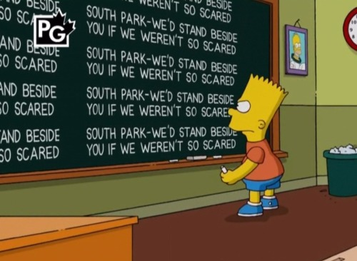 thedailywhat:  Simpsons Chalkboard Gag of the Day: Context. See also. [reddit.]