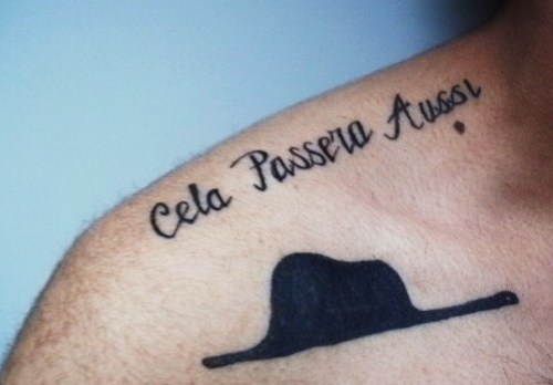 "bellasperanza:  fuckyeahtattoos:  the ""hat"" from Le Petit Prince. Best yet. Above: this too, shall pass translated in french-still healing."