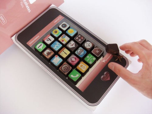 "prettyfoods:  thedailywhat: Buy This: iPhone App Chocolates from Etsy seller iChocolates. Organic, handmade gourmet chocolates with familiar iPhone app icons stamped on using patented ""Chocographics"" technology (I shit you not). 20 chocolates per box, 4 flavors per assortment. Made to order. $46.44. [likecool.]"