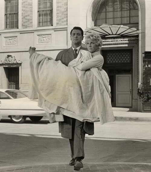 Doris Day & Rock Hudson in production still from Pillow Talk (1959, dir. Michael Gordon)
