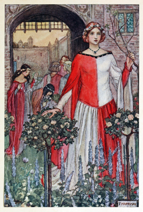 Fair Jehane du Castel Beau Wore her wreath till it was dead  Illustration by Florence Harrison, from Early poems of William Morris, New-York, 1914. Via archive.org.