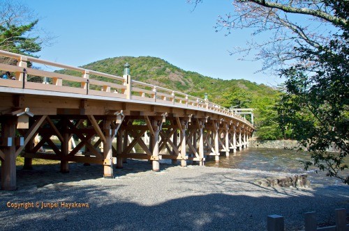 Bridge at Ise jingu (Ise Grand Shrine), Ise City, Mie Prefecture.