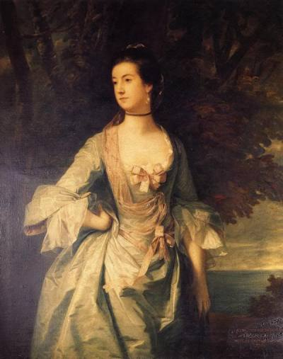 historicalfashion:  Mrs. Hugh Bonfoy by Reynolds, 1754