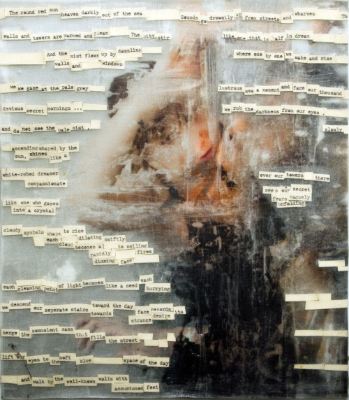 Layers (Lift), 2009. acrylic lift with embedded paper over inkjet print. 12x16""