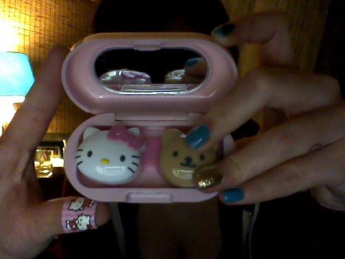 My new Hello Kitty contact case. Finally got it :)  Submitted by strawberryfieldsforev3r