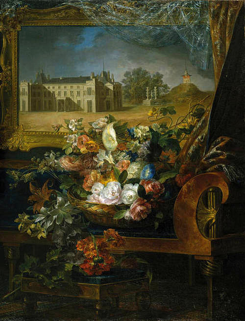 Miguel Parra Basket of Flowers and View of a Palace 1844