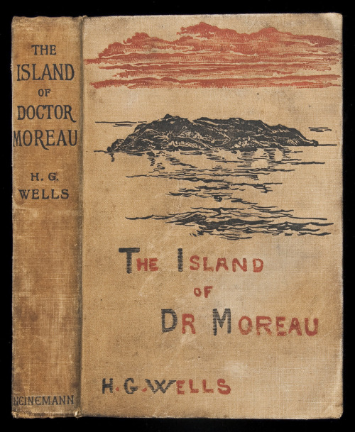 "The Island of Doctor Moreau  Wells, H.G.  London, Heinemann, 1896.  Decorated tan cloth. First Edition. First binding with publisher's monogram in blind on rear cover. 32-page catalogue with page [1] headed ""The Manxman"" inserted at rear. Wells's evolutionary fantasy about a shipwrecked naturalist who becomes involved in an experiment to 'humanize' animals by surgery, producing in the end only quasi-human monsters.   via PBA Galleries"