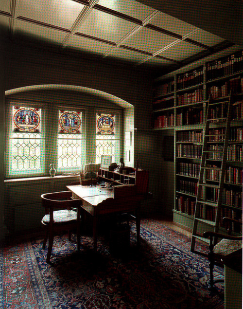 "bookshelfporn:  workspaces:  Jung's house. nevver:  ""What we do not make conscious emerges later as fate.""–Carl Jung"