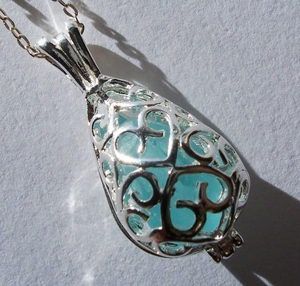 Aqua Seaglass Mermaid's Teardrop Silver Filigree Locket