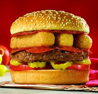 thisiswhyyourefat:  Red Robin Italian Burger A beef patty topped with tomato, peperoncinis, italian mayo, pepperoni and a layer of fried mozzarella sticks.  (submitted by ericshaun via Red Robin)