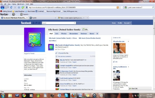 Silly Bandz fan page on facebook