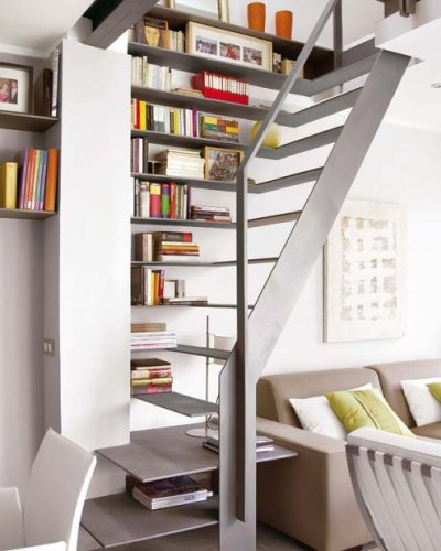 Do you have open stairs in your living room and you like books? Maybe this is the way to present them in your interior. No one else will have the same.