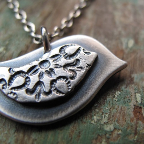 Mama Bird and her Little One - sterling silver bird necklace here