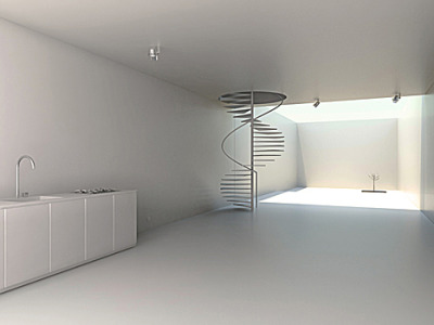 Three plans. A staircase. A tree.   House W by Oil Monkey. via minimalissmo