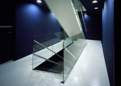 atelier-e:    Nice glass staircase. Very futuristic in combination with the white and dark blue. Metropol Hotel by Chalupa Architekti + d u m Architekti Location: Stare Mesto, Czech Republic via archdaily