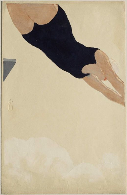Onchi Kôshirô (Japanese, 1891–1955), Diving, 1932, via mfa.org