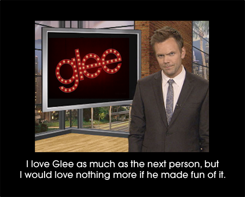 "(via fuckyeahgleesecrets) Don't forget that he said, ""I hate Glee! I don't get the appeal at all!"" whilst crying on Chevy Chase's shoulder on Community."