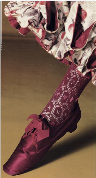 Shoe and Stocking, 1870-90 Kyoto Costume Institute
