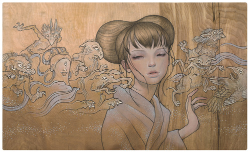 "Audrey Kawasaki, Hyakki Yakou. Oil and graphite on wood, 25.5x15.5"", 2009. Love them yokai. After the scroll, Hyakki Yakou Emaki (Muromachi era; 1333 to 1573), as pictured below. (Not sure of the source)"