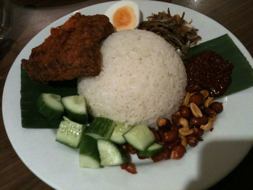 Nasi Lemak at Mamak, Haymarket. 7.50$ plus 3$ for fried chicken. Major win. Plus they serve iced Milo - yummo!