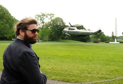 "Featured helicopter: Air Force One fatmanatee:   Actor Zach Galifianakis watches the lift off of the Marine One helicopter carrying President Obama from the White House on Sunday, May 2. The actor was touring the White House.  The latest in ""Wish I Looked This Awesome""… (via msnbc)"