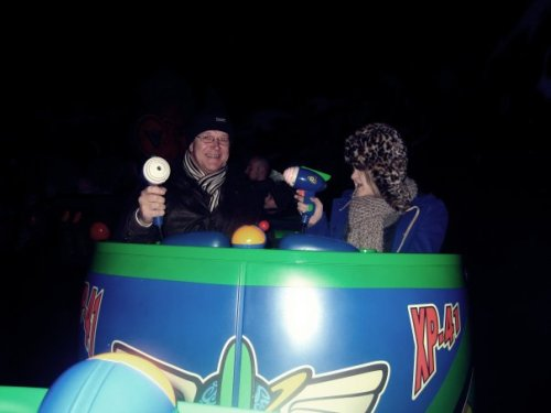 Me & my dad on the 'Buzz Lightyear' ride at Disneyland Paris, 2009. I beat him