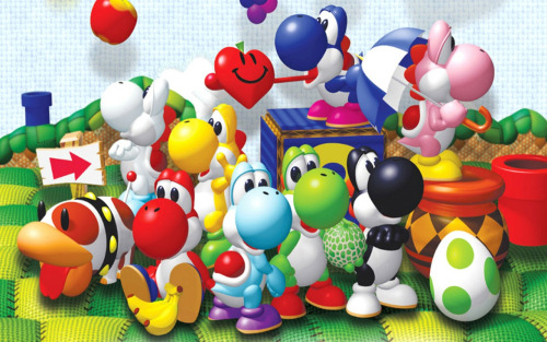 bowonbirdo:  Poochy and his pet Yoshis  Almost every time my friend John and I hang out, we reminisce about how we used to think Yoshi's Story was the greatest game ever. Now, I can barely bring myself to play it.