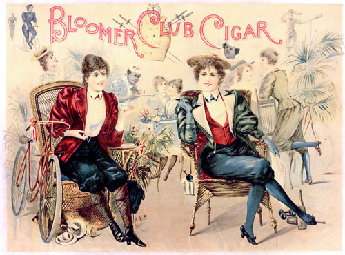 An Edwardian satire on the fashion of wearing bloomers  (HT G.D. Falksen at Steampunk Fashion)