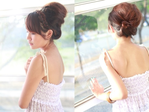 HAIR 3: Dutch french braid headband with huge messy updo Model: Mara de GuzmanPhotographer: Mark Perez The photo on the left is my favorite :) Products used: hairspray, two bobby pins