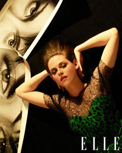"Kristen Stewart in Elle Magazine The Twilight star graces Elle's June cover playing up on the masculine-femine trend in a blouse, tweed waist pants, and slick-backed hair. Inside, however, she goes full glam mode in the leopard and lace Dolce and Gabbana number seen above. Inside the mag's pagaes she talks about her cult status and how scary it can sometimes be. She says, ""It's insane! Once somebody finds out, you have to get the hell out of wherever you are. People freak out. And the photographers, they're vicious. They're mean. They're like thugs. I don't even want to drive around by myself anymore. It's f——-g dangerous."" Full story and Kristen's cover photo after the jump. [Kristen Stewart in Dolce & Gabbana. Photo: Carter Smith]"