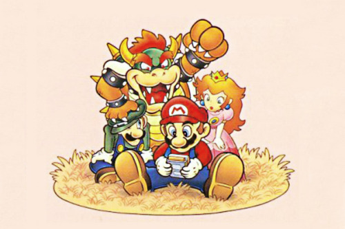 venomshock:  superzelda:  bowonbirdo:  Mario and friends invite Bowser to play Game Boy, for some reason.  (via bowonbirdo)