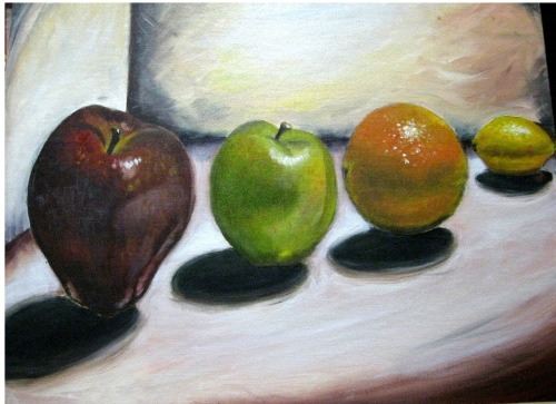 Hole fruits! Done in Oil painting