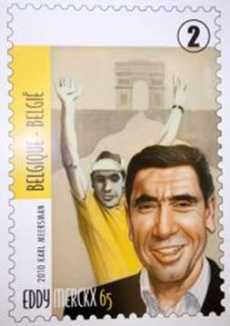 Eddy Merckx Stamp  I'm definitely no stamp collector (like BikeMe is) but I'm digging this new limited edition Merckx stamp from the De Post (the Belgian postal service).  Found on Cycling News.