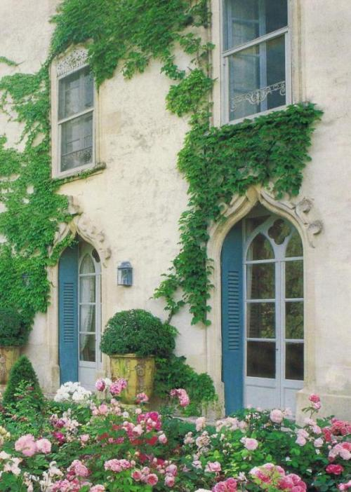 vintagecottagefrench:    Look at those FRENCH BLUE SHUTTERS. Gorgeousness from trouvais.