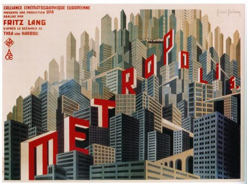 white-space-conflict:  lileks:  French poster for Metropolis. Could be a contemporary Chris Ware, but then again, Chris Ware isn't all that contemporary.