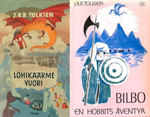 thedailywhat:  Found Thing of the Day: Tove Jansson, author of my favorite childrens' book series of all time, The Moomins, apparently did some side illustration work for a Finnish version of Tolkien's The Hobbit, as well as Lewis Carroll's Alice's Adventures in Wonderland. You can view complete scans of both books here. [drawn!]  katie ^^