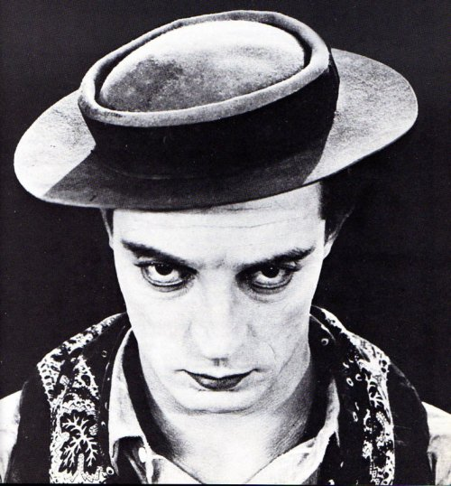 "Buster Keaton's Recipe For His Famous Pork Pie Hats (in his own words): PORKPIE HAT1 Stetson Hat3 Heaping Teaspoons of granulated sugar1 Teacup Warm WaterMix water and sugar. Wet the top and bottom of the brim. Smooth it out on a clean, hard surface. Allow to dry until stiff.I did the early ones myself myself, always - and then I trained my wife.(The first one was created in 1917 for ""The Butcher's Boy"")   (via mothgirlwings)"