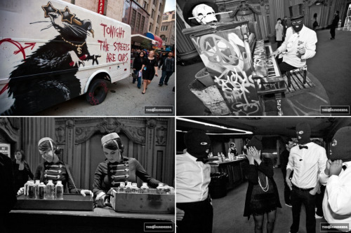 "premiere of banksy's exit through the gift shoplos angeles theatre inside, voluptuous girls pouring out of flapper dresses, ski-masked service, some of banksy's notable installations like tweety, free popcorn, and a faceless pianoman. the last time banksy was here, you may remember brangelina showed up along with a painted elephant. this time, the celebrities cascaded down the red carpet once again, although flanked with the invited guests.. yes, the regular everyday public. it was as if the point was to make everyone feel and ""appear"" like a star , and as they were handed spray cans and asked to decorate the truck parked curbside, all sudden artists as well.source: the hundreds"