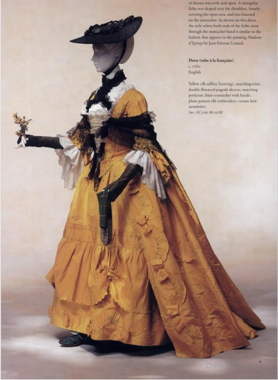 Yellow silk taffeta robe a la Francaise, 1760 Kyoto Costume Institute
