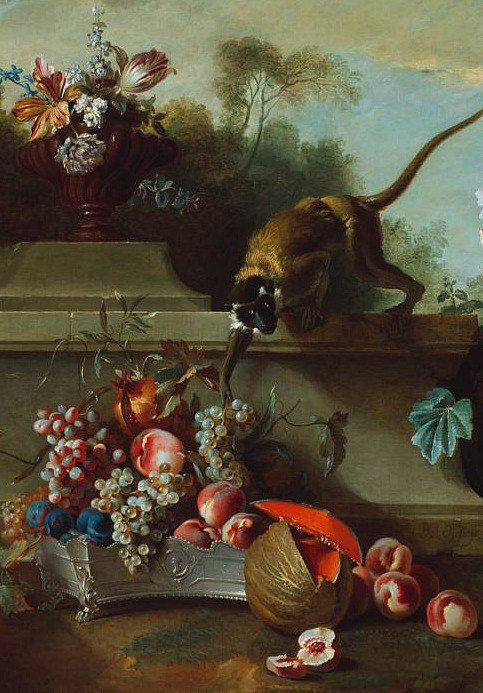 Jean Baptiste Oudry Still Life with Monkey, Fruit and Flowers (detail) 1724