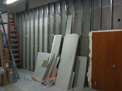 Can't wait until this wall comes down. Part of the expansion of the New MAC Group studio. Plus getting 160 amps. All complete with a 28.5 x 8ft wall of northern facing windows.