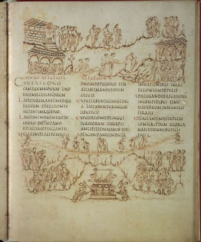 The Utrecht Psalter. Image of fol. 83r, containing the text and illustration of Psalm 149.   At the bottom of the page is the illustration for Psalm 150, the text of  which follows on the next page. From http://libraries.slu.edu/archives/digcoll/mssexhibit07/manuscripts/utrecht.html